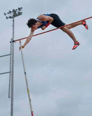 South Knox's Will Staggs clears 16 feet, 11/4 for a new Central Regional pole vault record on Friday.