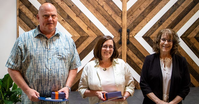 Galion City Schools staff members (left to right) Dave Rinehart, Sara Palmer, Stephanie Kiger and Travis Watson (not pictured) were recognized as retirees during the district's annual staff recognition event on May 27. This year's retirees represent more than 120 years of educational experience as a group.
