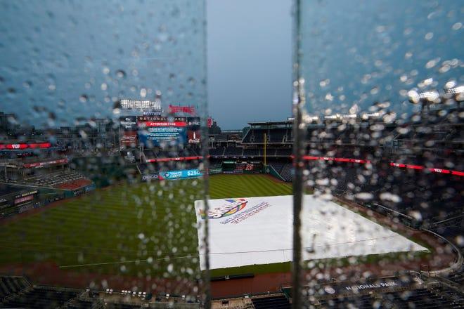 Rain falls on Nationals Park at a game earlier this season.