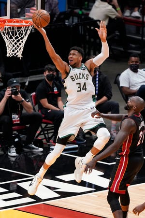 Giannis Antetokounmpo and the Milwaukee Bucks play the Nets in a winner-take-all Game 7 of their Eastern Conference semifinals series on Saturday, June 19, at the Barclays Center in Brooklyn.