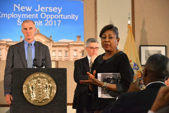 New Jersey Senator Sandra Cunningham answering a question from the audience prior to Governor Chris Christie speaking at the Employment Opportunity Summit with various business leaders to discuss and explore innovative ways to implement neutral hiring practices and enhance employment opportunities for New Jersey citizens with criminal records. In Trenton NJ, March 8, 2017.