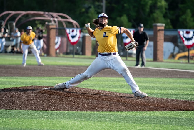 Jake Hammond of LSU-Eunice throws a pitch against East Central in the Region 23 championship game on on May 22, 2021. The Bengals advanced to the Division II National Junior College Athletic Association World Series.