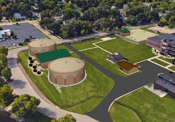 """An artist's rendering shows the city of Oshkosh's plans for replacing 19th century """"clearwell"""" tanks near Lake Winnebago."""