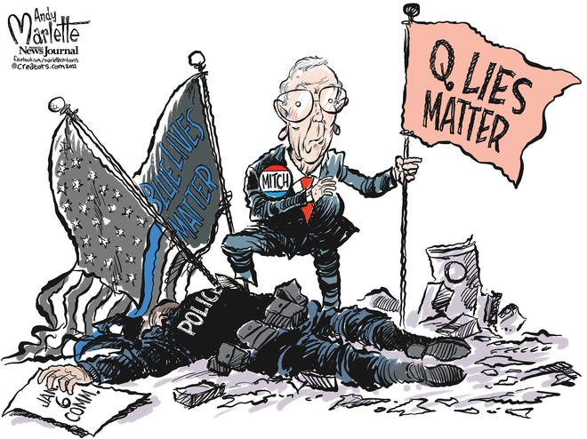 "Marlette cartoon: Mitch rallies a ""no"" vote against Jan. 6 commission"