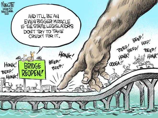 Marlette cartoon: It's a miracle! Pensacola Bay Bridge finally reopens