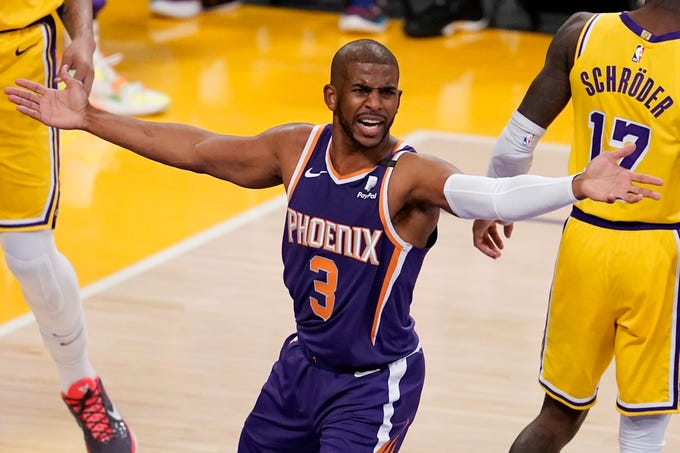 Phoenix Suns guard Chris Paul (3) argues a call during the first half in Game 3 of an NBA basketball first-round playoff series against the Los Angeles Lakers Thursday, May 27, 2021, in Los Angeles. (AP Photo/Marcio Jose Sanchez)