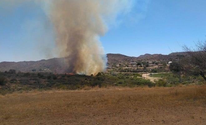 Spur Fire burns near Bagdad, Arizona, on May 27, 2021.