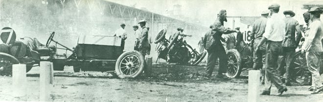 The Indy 500 is held annually over the Memorial Day weekend. A Richmond-made car, Harry Knight's Westcott number seven, shown wrecked, made history at that race in 1911.