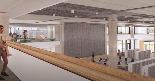 A rendering of the first and second floor of the Salem Public Library.