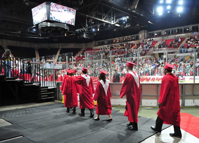 Students from the Wichita Falls High School 2021 class entered the Kay Yeager Coliseum Thursday night, May 27, 2021, for their graduation ceremony.