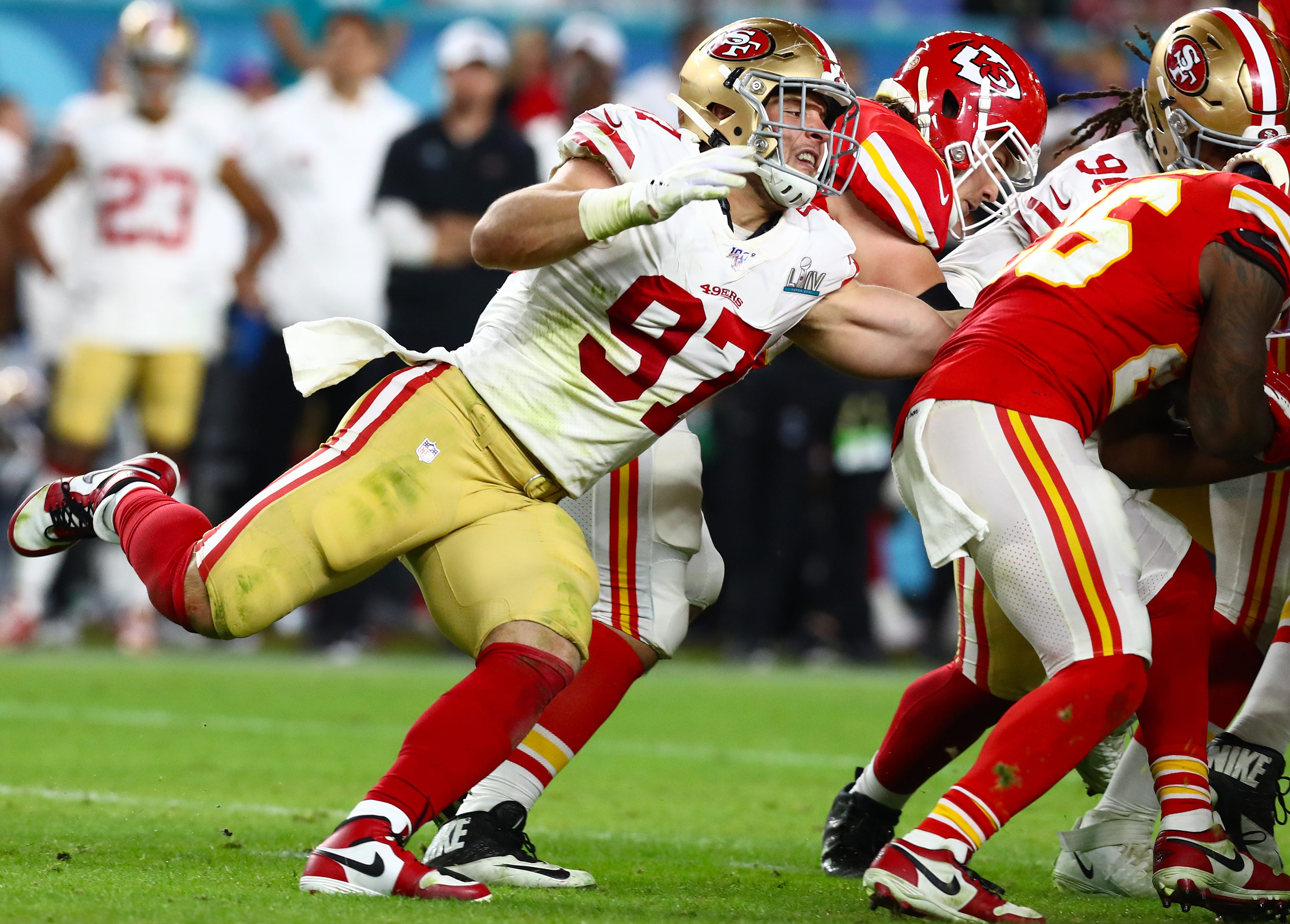 DE Nick Bosa (97) helped fuel the 49ers' charge to Super Bowl 54 during the 2019 season.
