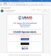 A screenshot with redacted information shows an alleged spear-phishing email intended to resemble a real email from the United States Agency for International Development.