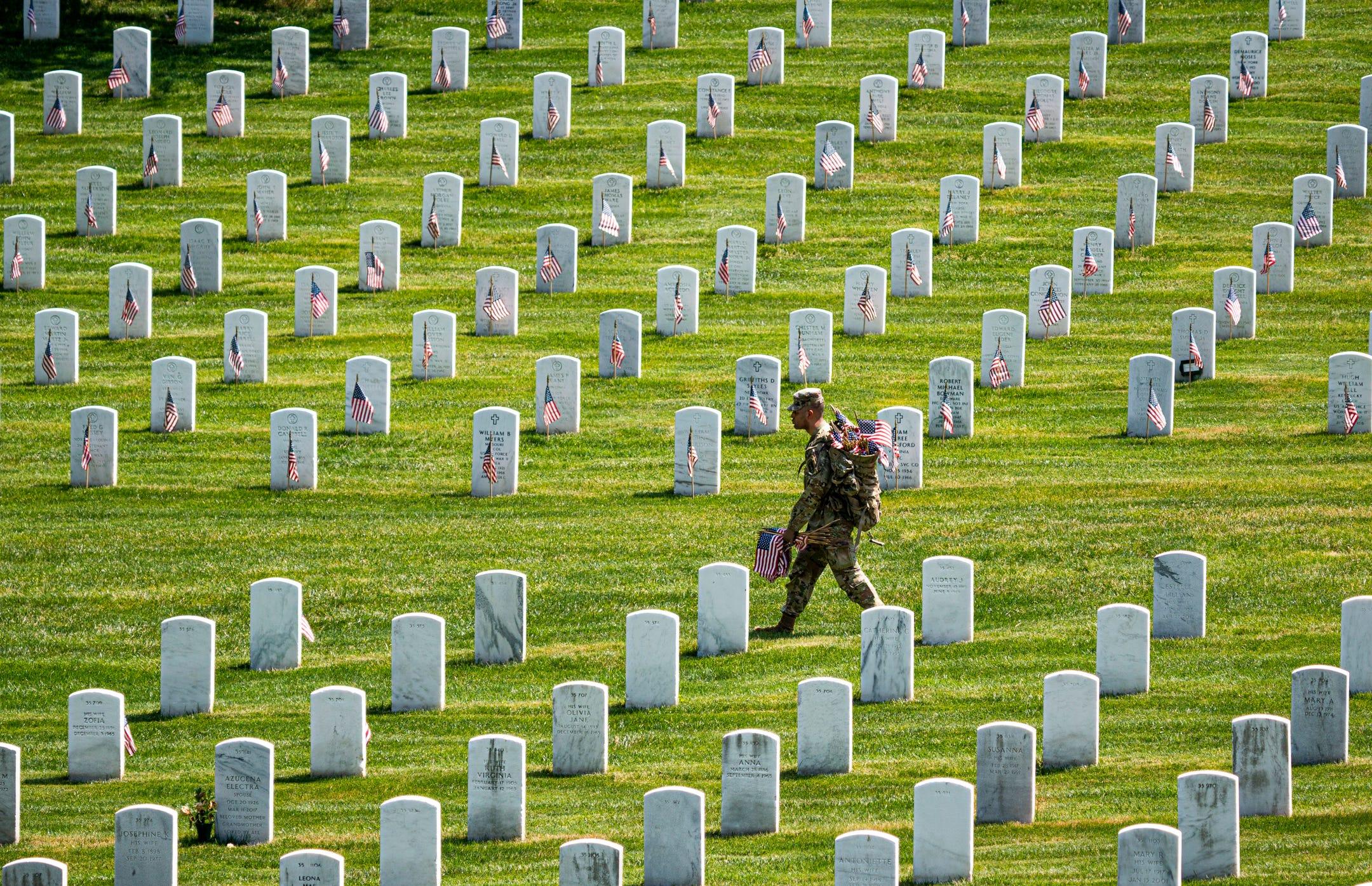 Photos: Arlington National Cemetery 'Flags In' for Memorial Day
