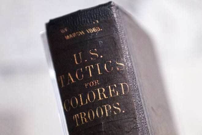 """A training manual from 1863 for U.S. colored troops is part of an exhibit titled """"Civil War and Reconstruction: The Battle for Freedom and Equality"""" at the National Constitution Center in Philadelphia."""