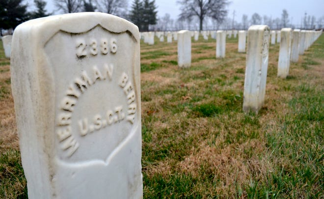 A headstone at Mound City National Cemetery in Illinois is marked with the abbreviation U.S.C.T., which stands for United States Colored Troops, the name given to African American soldiers who served in the Civil War.