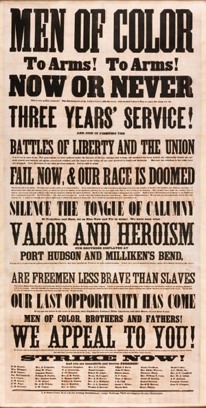 """Recruitment flyers called """"men of color"""" to arms."""