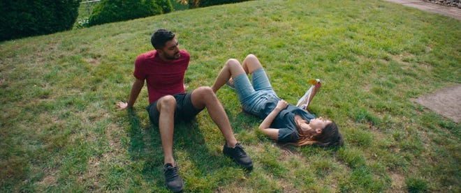 """Ritesh Rajan, left, and Sujata Day play siblings at odds in """"Definition Please,"""" the closing night film for the 2021 Austin Asian American Film Festival."""