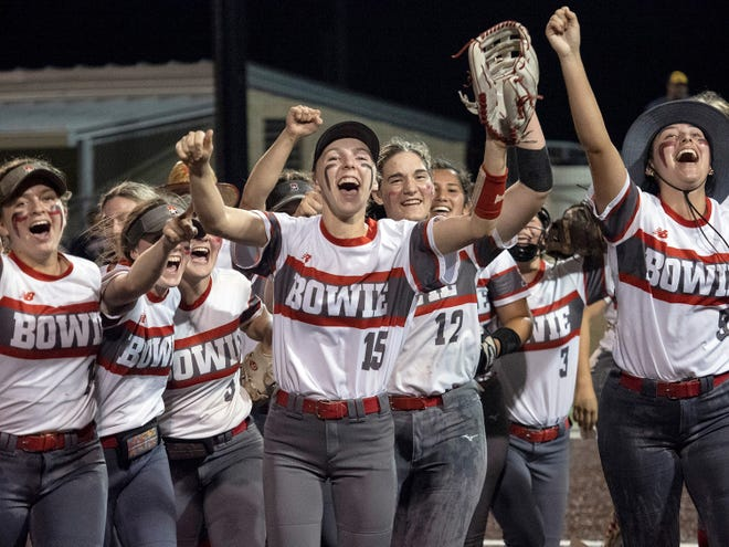 Bowie High, celebrating a victory over Lake Travis last month, had its softball game against Judson postponed Friday night. The game will resume Saturday in Somerset.