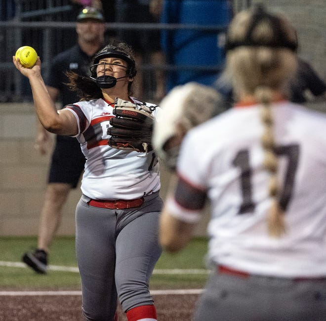 Bowie pitcher Emma Solis, tossing to first baseman Jada Scott in a game against Lake Travis earlier this month, pitched well Saturday, allowing only four runs to Judson. The Rockets would prevail 4-3.