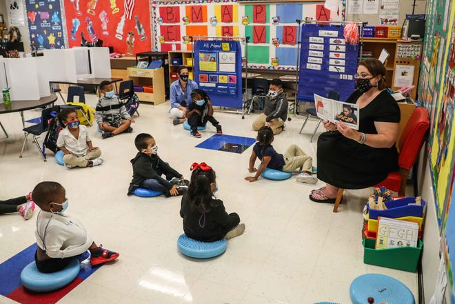 Overton Elementary prekindergarten teacher Amanda Bradley instructs her students in October. Austin district leaders are considering a bond referendum for facility updates in 2022 and approved a $1.9 million contract Thursday for a consulting firm to help gather community input and plan a proposal.