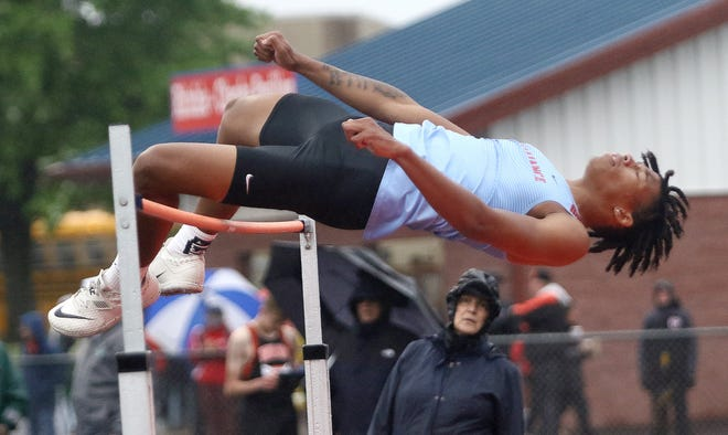 Alliance's Dewayne Davis during a high jump attempt at Division 1 track and field regional finals at Austintown High School, Friday, May 28, 2021.