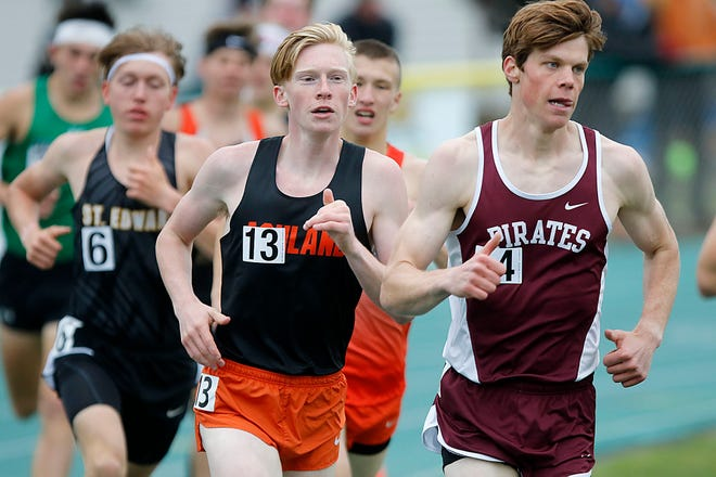 Ashland High School's Dylan Hickey competes in the 1,600 meters at the OHSAA Division I Region 2 track meet Friday, May 28, 2021 at Amherst Steele High School.