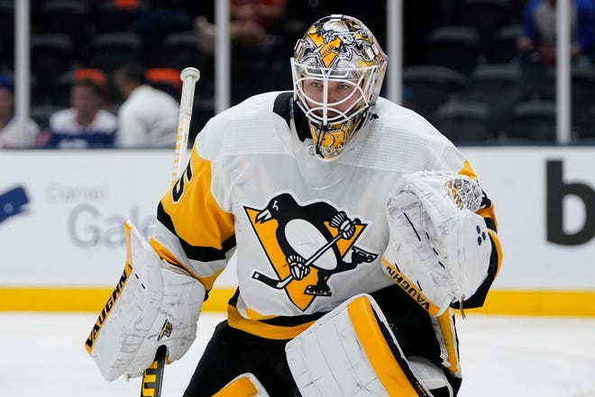 Pittsburgh Penguins goaltender Tristan Jarry during the second period of Game 6 of an NHL hockey Stanley Cup first-round playoff series against the New York Islanders, Wednesday, May 26, 2021, in Uniondale, N.Y. (AP Photo/Frank Franklin II)