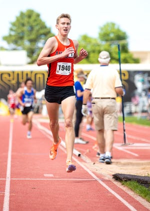 Augusta's Sawyer Schmidt runs in 3200 race  on Friday, May 28 at Wichita State's Cessna Stadium in the Class 4A state track and field meet.