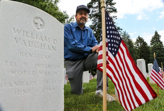 With the help of more than a thousand volunteers nationwide, Don Milne has a goal of compiling short bios of all 2,502 Americans who died on D-Day. William D. Vaughan is the only military member killed on D-Day who was buried in the Zachary National Cemetery in Louisville, Kentucky.