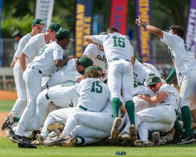 Jacksonville University pitchers Jagger McCoy (16) and Mason Adams (15) leap into a dogpile Saturday after the Dolphins won the ASUN Conference championship with a 7-3 victory over Liberty.