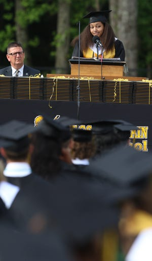 Olivia Sara Green gives the Valedictatorian Address during the Kings Mountain High School 2021 Commencement held Saturday morning, May 29, 2021.