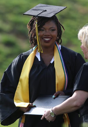 Kennedy Miyonna Barnes receives her diploma during the Kings Mountain High School 2021 Commencement held Saturday morning, May 29, 2021.