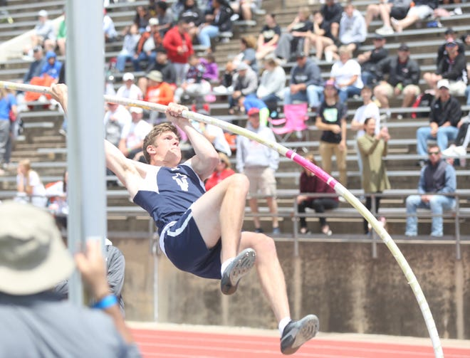 TMP's Jeff Heimann competes in the pole vault at the state meet in Wichita.