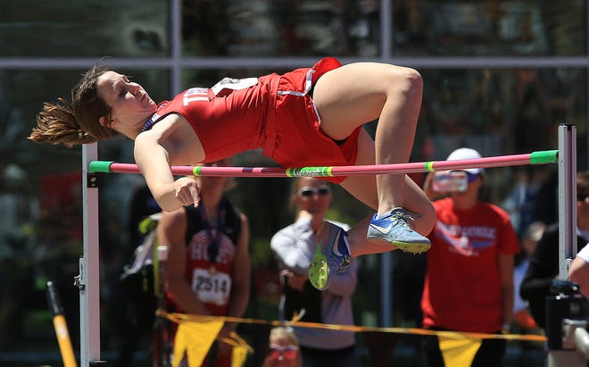 Trinity's Becca Hammersmith placed second after a jump-off during the state track meet Saturday.