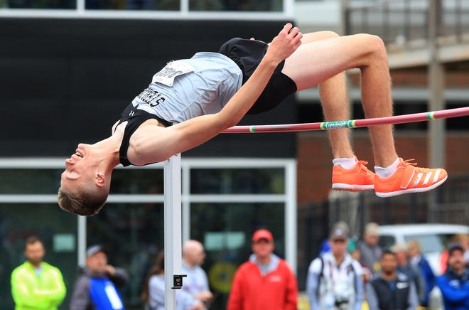 Sterling's Tyus Wilson clears seven feet two inches in high jump at the KSHSAA state track meet in Wichita Saturday.