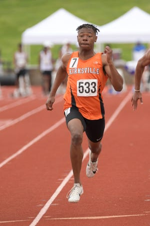 Kirksville's Sam Thomas runs in the 100m dash Friday at the Class 4 MSHSAA State Championships.