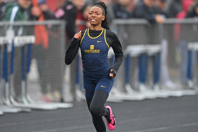 Streetsboro's Taylor Ivory competes during the girls 400m dash, Saturday during the Division 2 Regional Track Meet at Austintown Fitch High School.