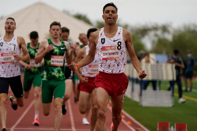 Matthew Centrowitz (8) wins the 1,500 meters during the Sound Running Track Meet on May 15 in Irvine, Calif. Centrowitz is the defending Olympic champion in the event.