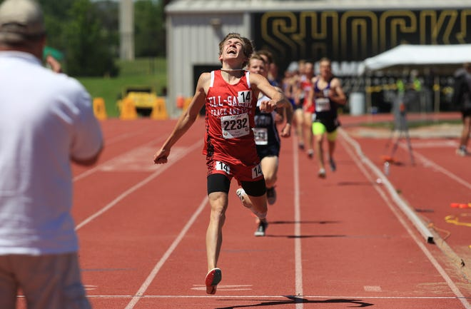 Ell-Sailine's Gavin Brady strides across the finish line during the 1600 meter run of the Class 2A Boys State Track and Field Championship Saturday afternoon at Cessna Stadium.