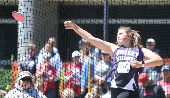 Valley Heights' Emma Yungerberg just missed out on a third state championship at Saturday's State Outdoors, finishing runner-up in the discus after winning the shot put and javelin titles earlier in  the day.