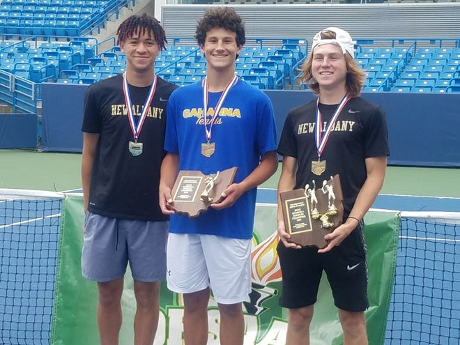Gahanna's Brandon Carpico stands between New Albany's Devin Boyer and Ryan Mudre after the Division I state tennis tournament May 29 at Lindner Family Tennis Center in Mason. Carpico won the singles title and the team of Boyer and Mudre won the doubles championship.