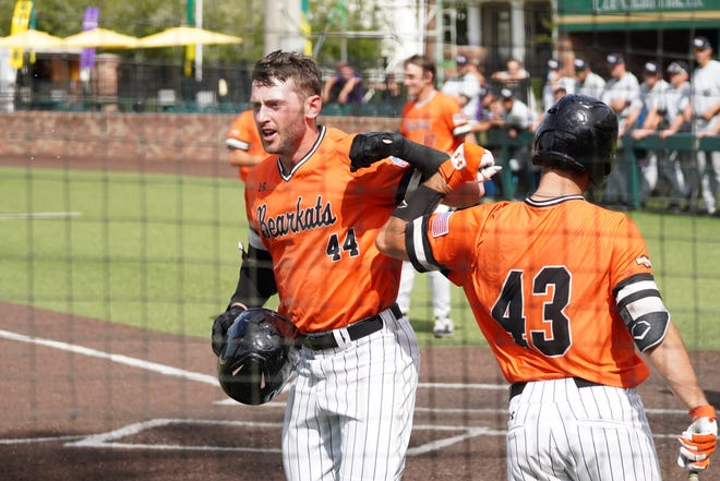 Sam Houston's Jack Rogers (44) hit two of his team's five home runs in a 14-12 victory over Abilene Christian at the Southland Conference tournament Friday, May 28, 2021 in Hammond, Louisiana.