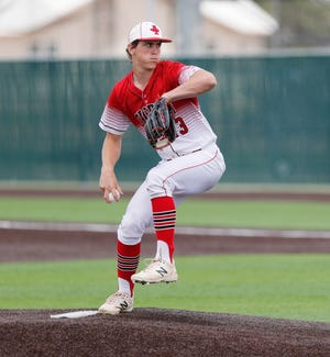 Anson's Trevor Miller (13) pitches in the first inning in the Region 1-2A semifinal series against West Texas on May 29 in Littlefield.