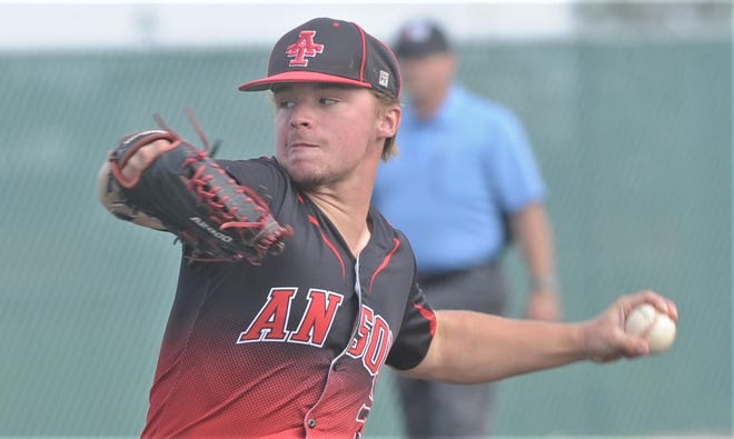 Anson pitcher Isaac Brann throws a pitch in the fifth inning. Brann tossed a three-hitter and struck out 11 in the Tigers' 6-1 victory over West Texas in the opener of the best-of-three Region I-2A semifinal series Friday in Littlefield.