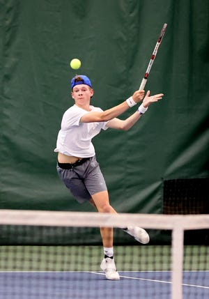 Curtis Wagner from Millersburg West Holmes competes in the Ohio D2 Boys Tennis Tournament at Camargo Tennis Club in Madeira Ohio, May 28, 2021.