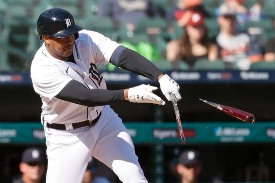 Detroit Tigers first baseman Jonathan Schoop (7) hits the bat during the third inning against the New York Yankees at Comerica Park on May 29, 2021.