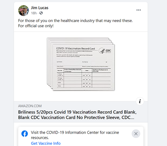 A screenshot of a Facebook post made by Indiana State Rep. Jim Lucas, R-Seymour, on Friday, March 28, 2021.