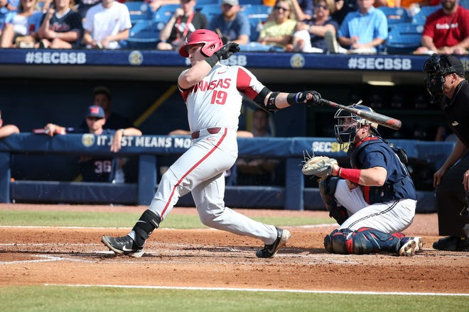 A look at Ole Miss baseball against Arkansas in the SEC Tournament semifinal on Saturday, May 29, 2021 in Hoover, Alabama.