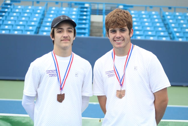 Lexington's Ross Drlik (left) and Ryan Mecurio were named the All-Mansfield News Journal Boys Tennis Co-Players of the Year.