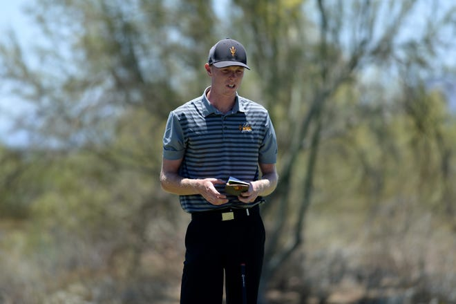 Arizona State University golfer Ryggs Johnston looks on from the ninth green during the NCAA Men's Golf Championship at Grayhawk Golf Club.